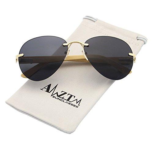 5c8b343d60 70% OFF AMZTM Clásico Moda Sin Montura Bambú Madera Aviator Gafas De Sol De  Mujer