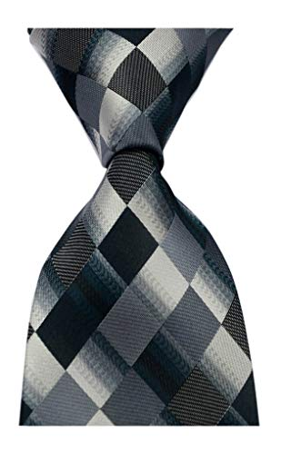 Secdtie Men's Classic Checks Purple Grey Jacquard Woven Silk Tie Necktie Black Grey ()