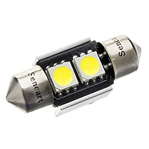 31mm 1W 2-LED 70-80LM 6000-6500K bombilla de luz blanca para CANBUS del coche (12V DC)
