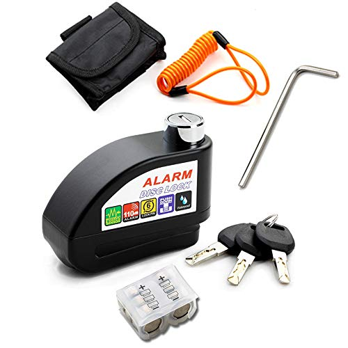 13 in 1 Disc Brake Lock with Alarm Anti-Theft Lock for Motorcycle Bicycle Scooters Security 110dB Sharp Alarm (Black)