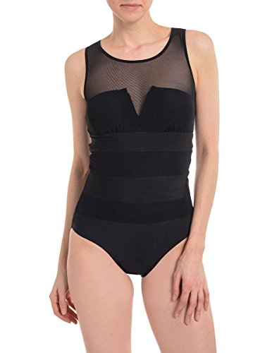 SPANX Black One-Piece Swimsuit Sheer Top Black