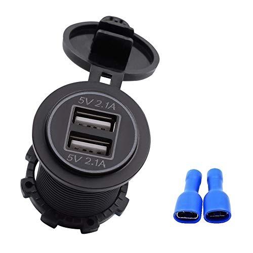 5V 4.2A Dual USB Charger Socket Adapter Outlet for 12V 24V Motorcycle Car
