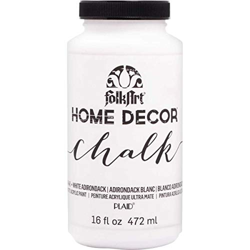 FolkArt 34846 Home Decor Chalk Furniture & Craft Paint in Assorted Colors, 16 Ounce, White Adirondack