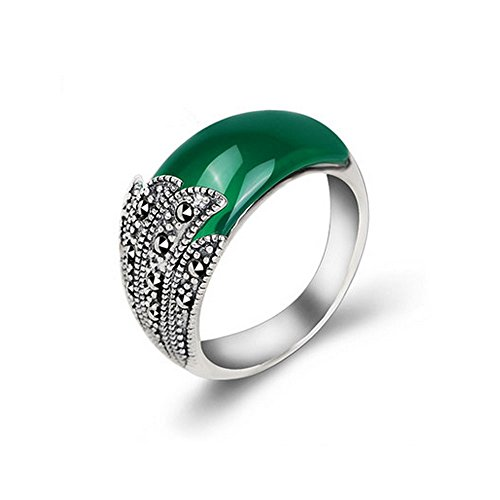 (Jade Angel Thai Vintage Sterling Silver Green Cubic Zirconia Band Ring with Marcasite (8))