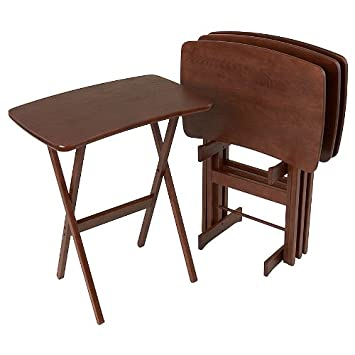 Merveilleux Wood Folding TV Trays Set Of 4, Contemporary   Chestnut