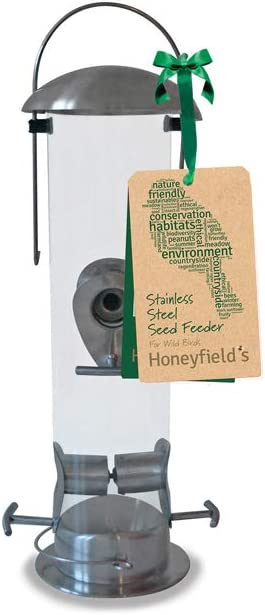 Honeyfield's Wild Bird Brushed Stainless Steel Heavy Duty Seed Feeder Comedero para pájaros Salvajes, Metalizado