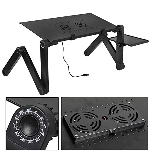 ZENY Foldable Laptop Stand for Bed and Sofa Height Adjustable Lap Table Stand w/ 2 Cooling Funs Tabletop Desk Notebook Stand Serving Bed Tray Breakfast Table