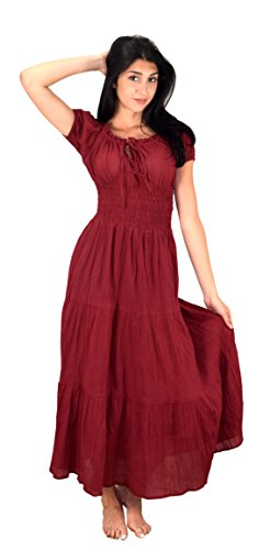 Peach Couture Gypsy Boho Cap Sleeves Smocked Waist