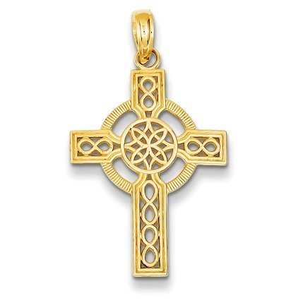 Two Tone Celtic Cross Gold (14K Yellow Gold Diamond-cut Celtic Cross Pendant - (1.06 in x 0.71 in))