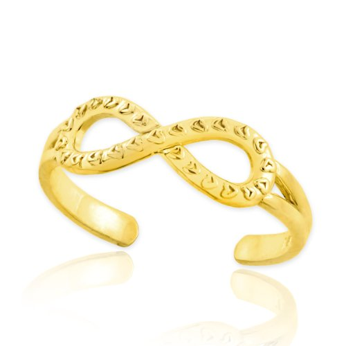 14k Gold Infinity Toe Ring with Hearts Texture (14k Solid Gold Heart Ring)
