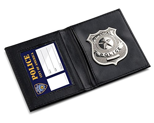 Metal Police Badge (Pretend Play Police ID Wallet 2 Pockets with attached metal badge By Dress Up)