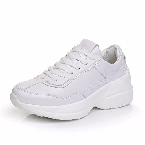 GTVERNH Zapatillas de Deporte para Mujer/Verano/Jogging Zapatillas de Deporte Mujer Estudiante Cuero Running Leisure blanco