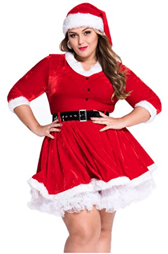 [Prettywell Womens Cosplay Long Sleeve Plus Size Santa Dress Stage Outfit 7283] (Victorian Servant Costumes)