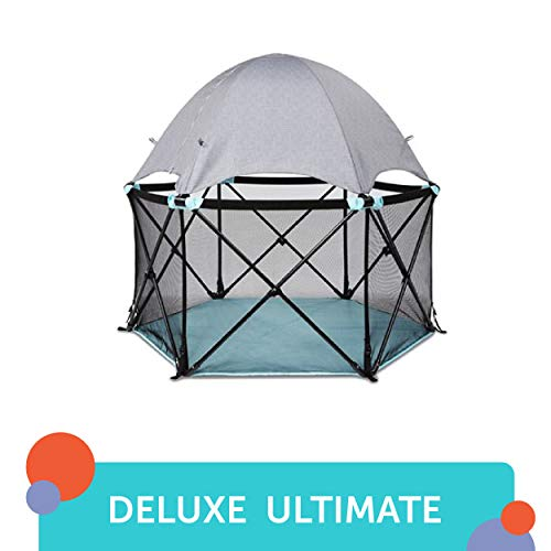 Summer Infant Pop 'N Play Deluxe Ultimate Playard, Aqua Splash/Textured Gray from Summer Infant