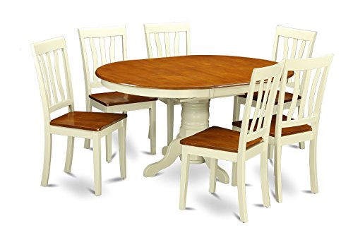 East West Furniture KEAN7-WHI-W 7 PC Kenley Dinette Table with One 18in Leaf & 6 Solid Wood Seat Chairs in a Buttermilk & Cherry Color