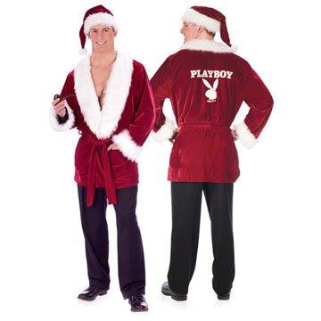 Playboy Men's Smoking Jacket Adult Costumes (Hef's Holiday Smoking Red Velvet Jacket Playboy Costume Standard Size)