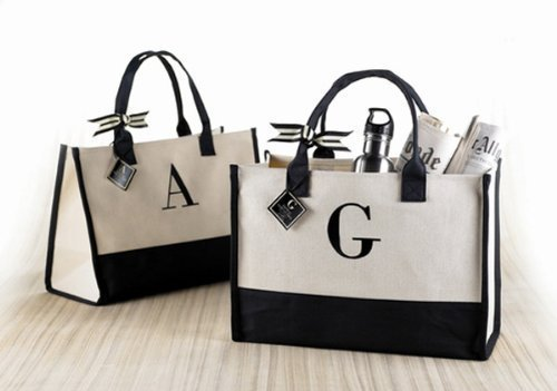Mud Pie W-Initial Canvas Tote by Mud Pie