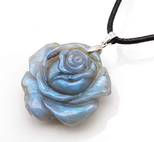 NATURSTON Rose Design Crystal's Carving Gemstone Pendant Necklace Natural Labradorite Flower Jewelry for Women Girls (Rose-L-09) ()