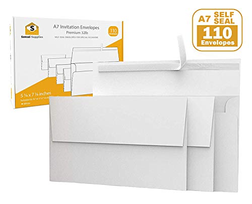 (110 5x7 White Invitation Envelopes - for 5x7 Cards - A7 - (5 ¼ x 7 ¼ inches) - Perfect for Weddings, Graduations, Baby Showers - 120 GSM - 32lb/80lb)