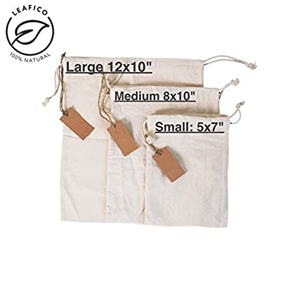 Reusable Grocery Bags | Cloth bags with Drawstrings for Bulk Food Storage by Leafico