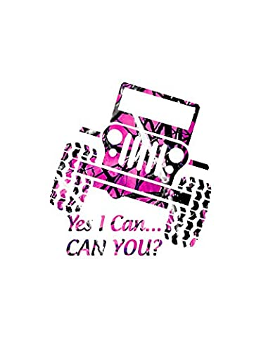 Yes I Can Jeepin Decal (Realtree Camo Rebel Flag)