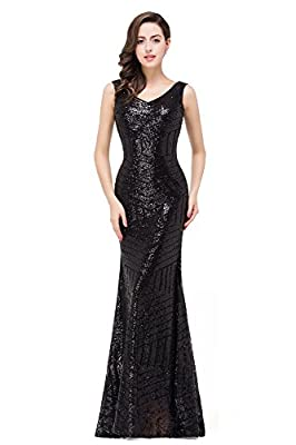 MisShow Women's V Neck Geometric Sequins Long Mermaid Prom Evening Gowns
