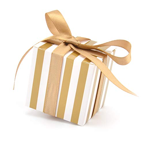 Candy Boxes Small Gift Boxes 2 x 2 x 2 inch with Ribbon,50pcs,Square Gold and White Stripes Design Party Favor Boxes for Wedding,Birthday,Baby,Shower,Anniversary,Holiday Celebration Party Supplies -