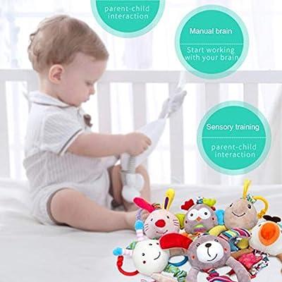 Hankyky Baby Stroller Activity Rattles Handbells Toy -Carseat Soft Plush Animal Toys Developmental Educational Sensory Toys for Newborn Infants Babies Boy Girls 0-3 Year Old: Kitchen & Dining