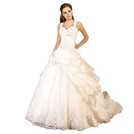Dearta Women's A-Line/Princess Sweetheart Court Train Satin Dress UK 10 White