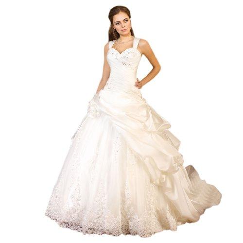 Kleidungen Satin Brautkleider Hof Prinzessin Linie Ausschnitt Damen Dearta Herz Schleppe Weiß A 6gzx5Wwq