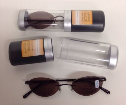 2 PAIRS PRIVATE EYES COMFORT FLEX SUN READER GLASSES W CASE 1.75 STRENGTH - Sun Readers Magnivision