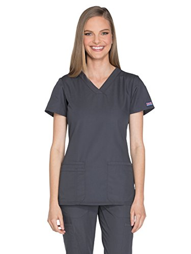 Cherokee Workwear Originals Women's Knit V-Neck Solid Scrub Top Small Pewter