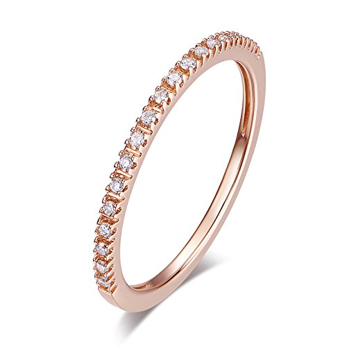 Brilliant Eternity Diamond Ring Round - 14K Gold Riviera Petite Micropave Diamond Half Eternity Wedding Band Ring for Women, 1.5mm (Rose-Gold, 4.5)