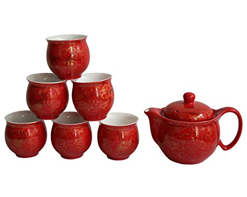 Chinese Tranditional Wedding Red Double Happiness Porcelain Tea Set Teapot and Tea Cup 7 Pcs by Oriental-beauty