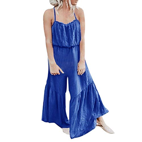 QIQIU Womens New Easy Camisole Wide Leg Pants Long Jumpsuit Solid Sleeveless V-Neck Sling Fashion Loose Playsuits Blue -