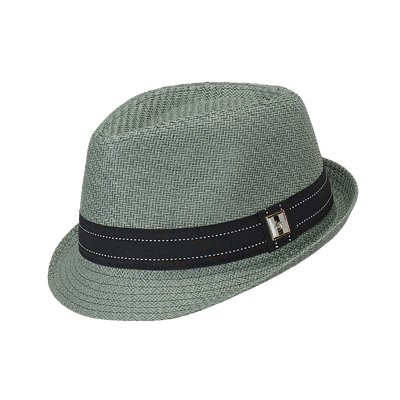 "One Size Green Grey ""Fragile"" Paper Braid Fedora with Black Fabric Hatband"