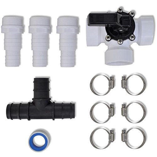BLXCOMUS Plastic Bypass Kit for Pool Solar Heater Outdoor Shower Set With 1 x 3-way Valve (switchable) And 1 x T-connector