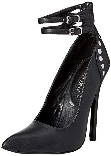 The Highest Heel Women's Sky 41 Double Ankle Strap Buckle 5-Inch Micro Heel Pump, Black, 10 Medium US ()