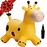 Babe Fairy Jumping Horse with Pump- Bouncy Horses Animals Hopper-Toddlers Inflatable Bouncing Horse Toys(Yellow Deer)