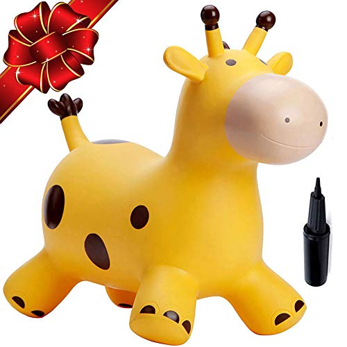 Babe Fairy Bouncy Horse with Pump-Jumping Horses Animals Hopper-Toddlers Inflatable Toys (Yellow Deer)]()