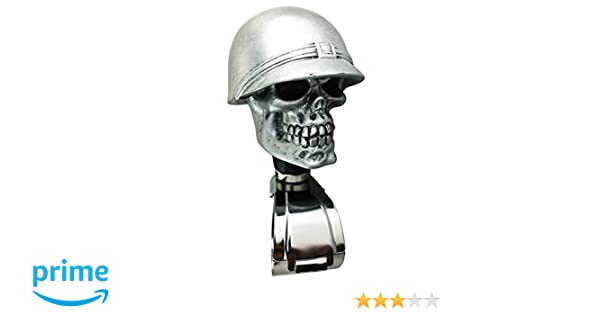 Silver Arenbel Skull Suicide Knob Car Driving Spinner Power Handle Grip Knobs of Soldier Style fit Most Universal Steering Wheels