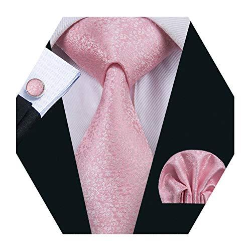 (Barry.Wang Men Pink Tie Pocket Square Set Wedding Tie Cufflinks Extra Long Tie)