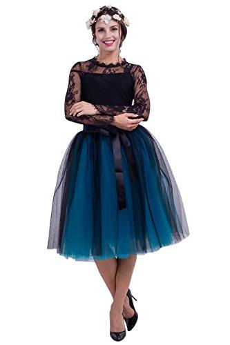 Babyonlinedress Falda larga de tul con dos colores estilo simple y clásico para fiesta con cintura elástica negro + azul