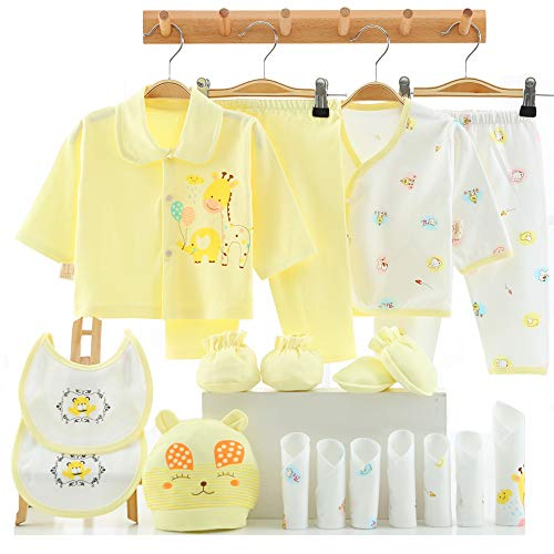 18pcs Newborn Girl Clothes Sets, 0-6 Months Infant Outfits, Unisex Baby Essentials Accessories (Yellow)
