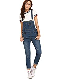 Womens' Casual Adjustable Strap Ripped Denim Overalls Jumpsuit