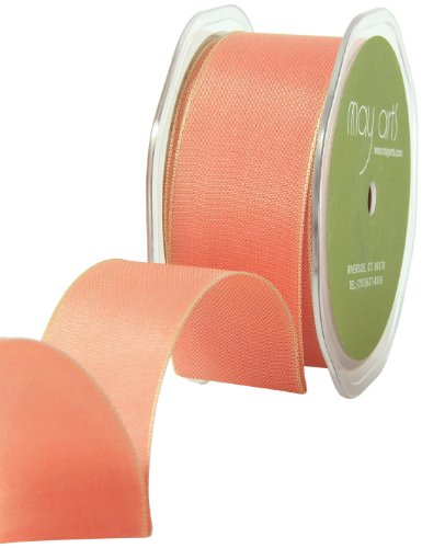 Iridescent Peach - May Arts 1-1/2-Inch Wide Ribbon, Iridescent Peach Solid