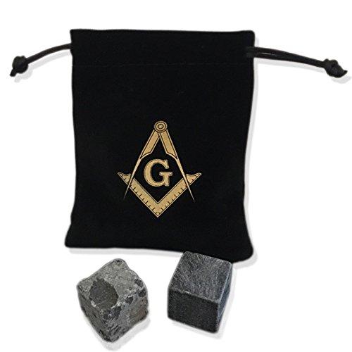 Freemason Ashlar Desk Set | Perfect and Rough Ashlar with Bag | Masonic Paperweight Paper Weight Deskset