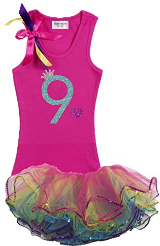 Bubblegum Divas Big Girls' 9th Birthday Rainbow Tutu Outfit 9-10 (Disco Themed Clothes)