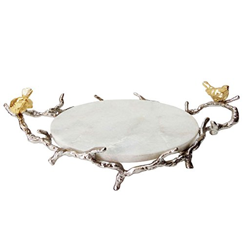 A&B Home Marble Round Branch Design Handles and Stand Tray Shiny Nickel (Best Marble For Home)