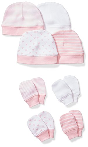 et of 4 Organic Cap and Mitten Sets, Pink Blush, 0-6 Months ()